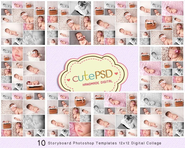Cpz006 10 Storyboard Photoshop Templates 12x12 Digit