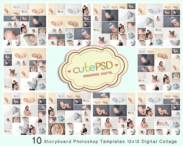 Cpz005 10 Storyboard Photoshop Templates 12x12 Digit