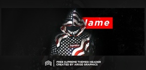 Free Supreme Themed Twitter Header Template PSD! (Customizable Text!)