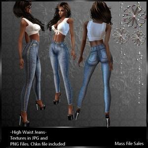 IMVU Textures High Waist Jeans Light