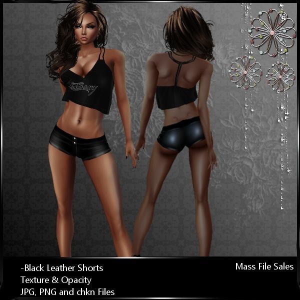 IMVU Black Leather Shorts
