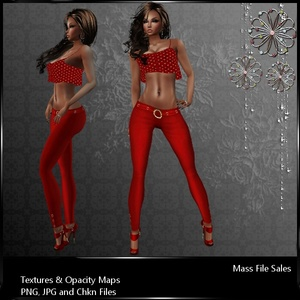 IMVU Textures Red Satin Pants