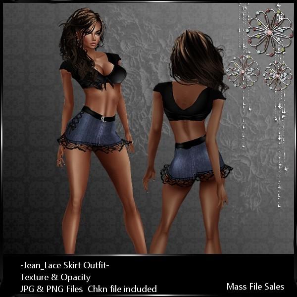 IMVU Textures Jean Skirt Outfit