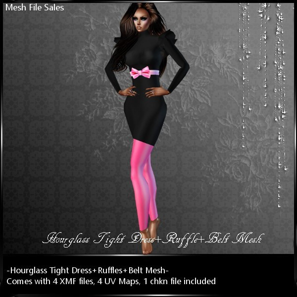 IMVU Mesh Tight Dress_Ruffle_Belt BS