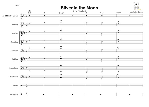 SILVER IN THE MOON  - Sheet Music (11 pce)