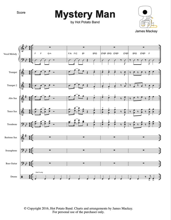 MYSTERY MAN - Sheet Music (10pce)