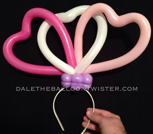 3-Intertwining Balloon Hearts on a Hairband