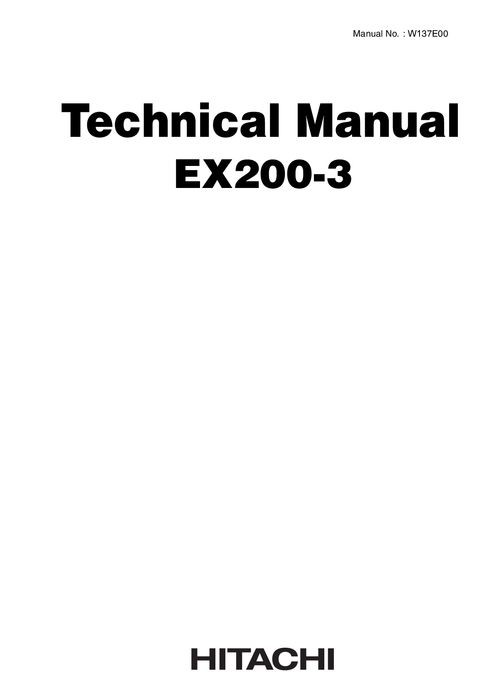 Hitachi EX200-3, EX200LC-3 Hydraulic Excavator Technic
