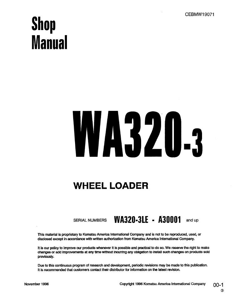 Komatsu WA320-3, WA320-3LE A30001 and up Wheel Loader