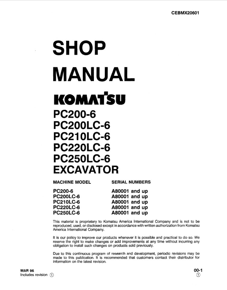 Komatsu PC200-6, PC200LC-6, PC210LC-6, PC220LC-6, PC25
