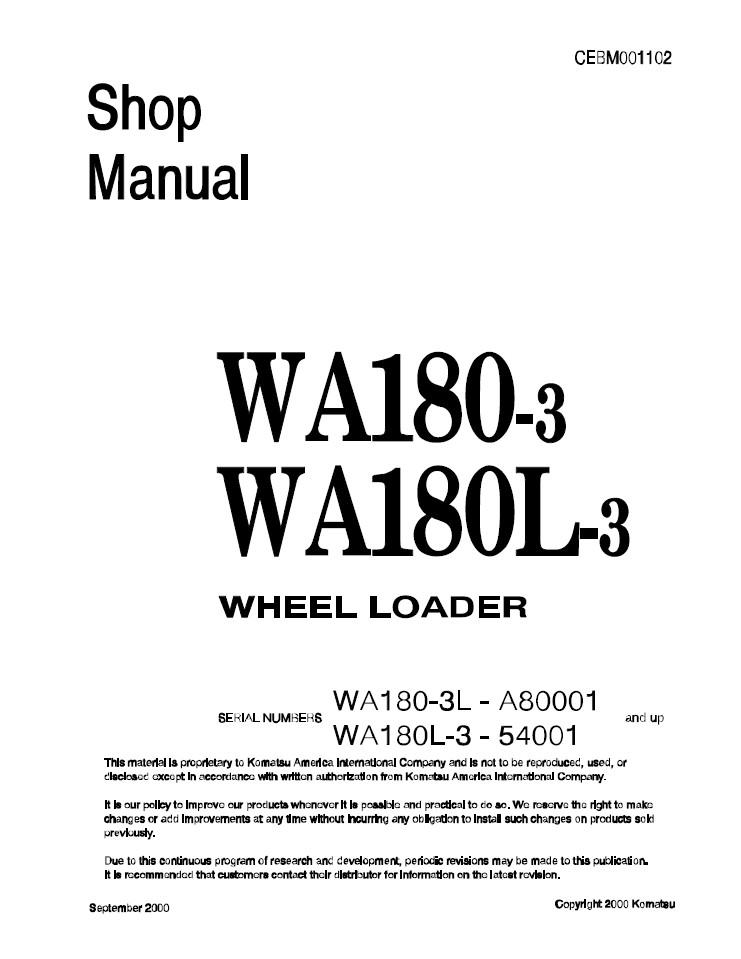 Komatsu WA180-3L, WA180L-3 A80001 and up, 54001 and up