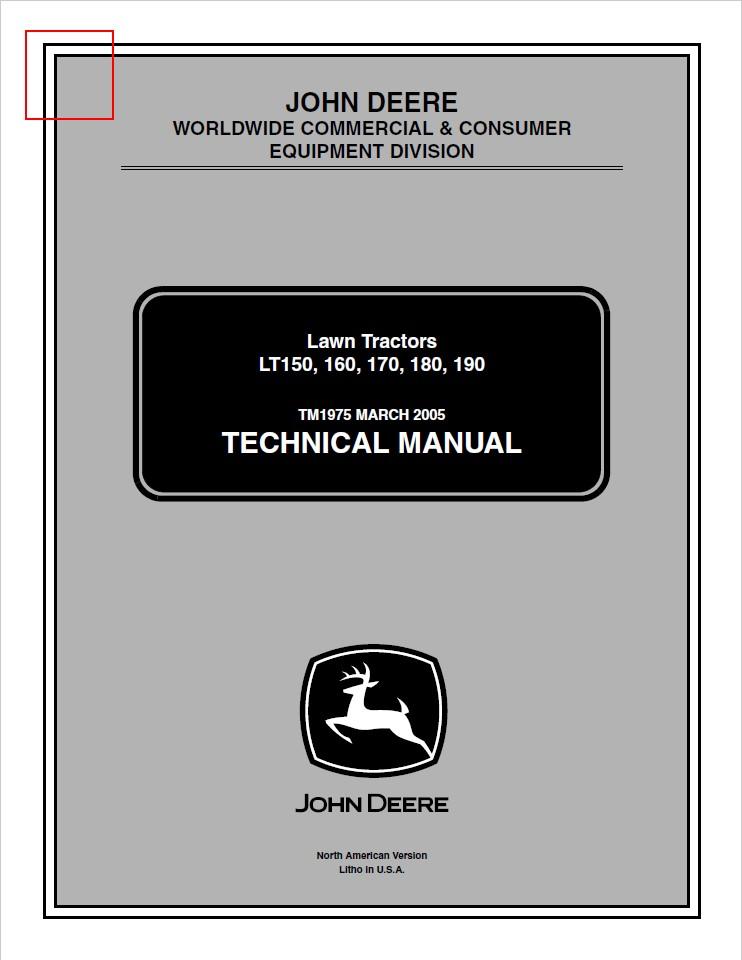 John Deere CCE LT150, LT160, LT170, LT180, LT190 Lawn - MYServiceManualsMYServiceManuals