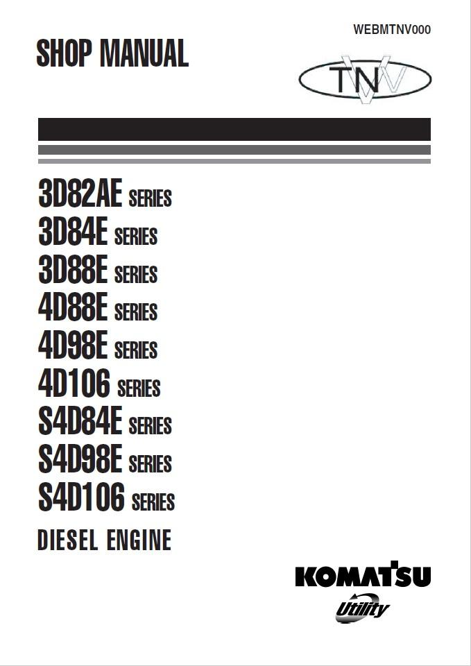 Komatsu 3D82AE, 3D84E, 3D88E, 4D88E, 4D98E, 4D106 S4D8