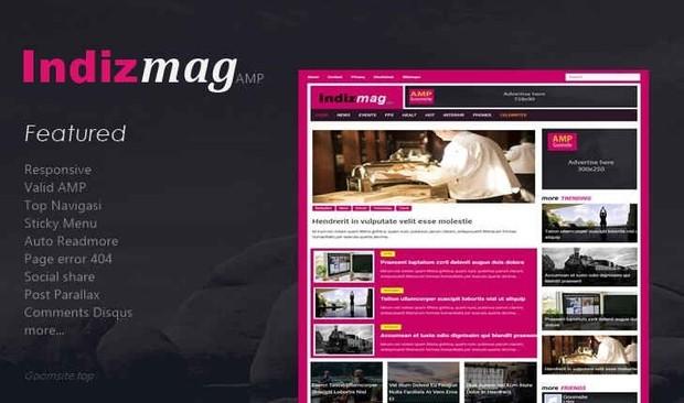 Indizmag Valid AMP Responsive Blogger Template