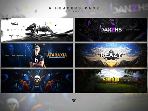 6 Headers .PSD Pack