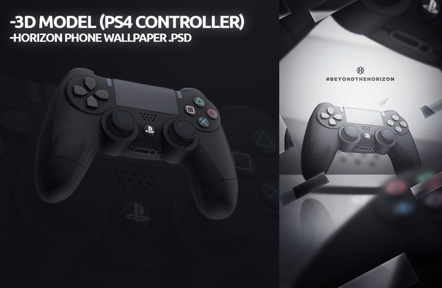 3D PS4 Controller + Horizon Phone Wallpaper .PSD !