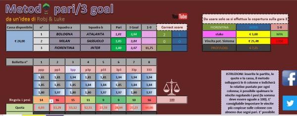 Metodo Pari - 3 Goal con copertura