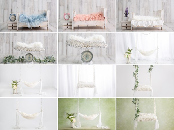 Glowing White Collection of 12 Newborn Digital Backgrounds, Newborn Digital Backdrop