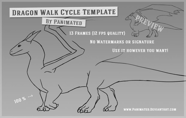 Dragon Walk Cycle Template