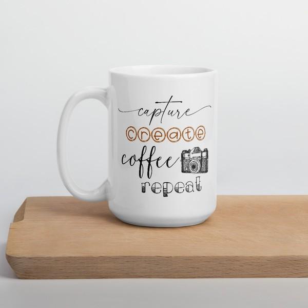 Capture, Create, Coffee, Repeat Mug
