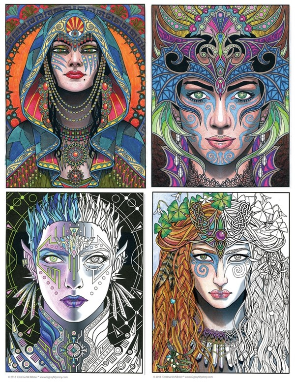Magical Beauties Book 1 -  24 Print-You-Own Coloring Pages