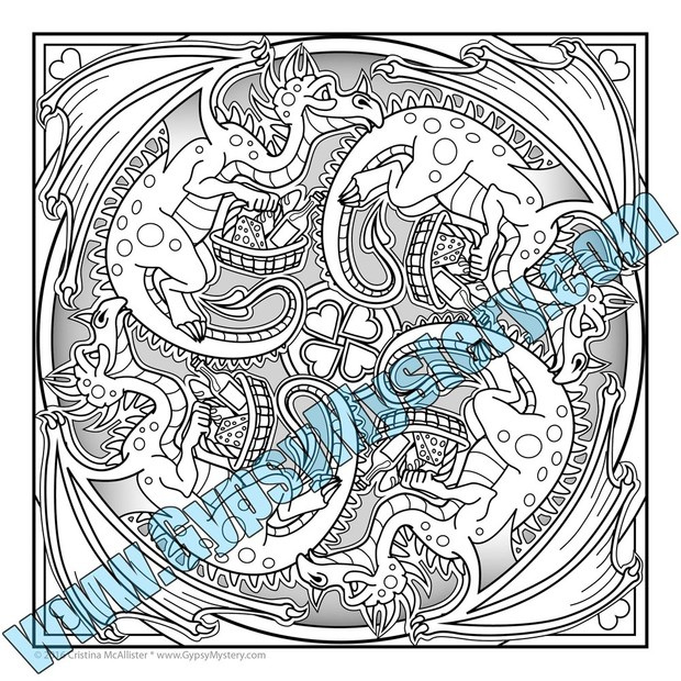 FREE Sample Dragons Date Mandala Coloring Page From The Carnival Collection
