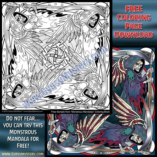 Free Monstrous Mandalas Sample Page