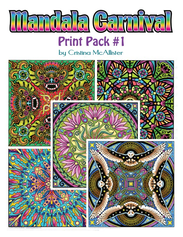 Mandala Carnival Print Pack #1 - 12 Printable Coloring Pages by Cristina McAllister
