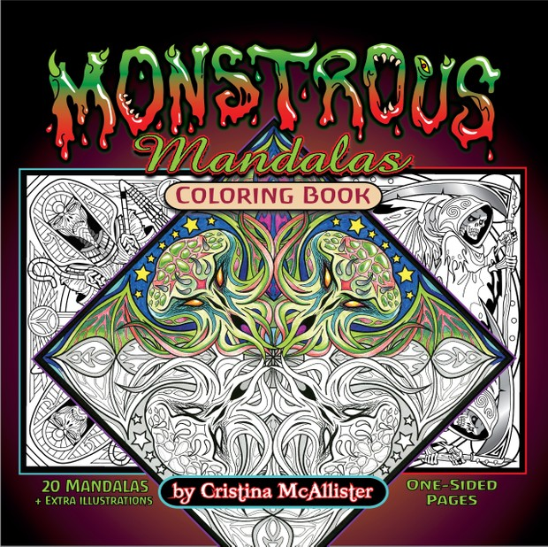 Monstrous Mandalas - 20 Print-Your-Own Coloring Pages