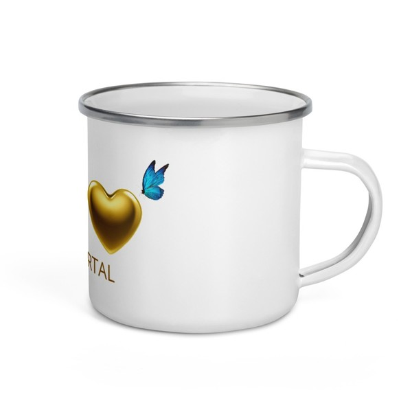 TRUTH Codes GOLD HEART and Blue Butterfly Enamel Mug