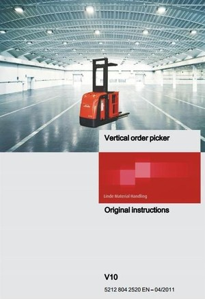 Linde Order Picker Type 5212: V10 Operating Instructions (User Manual)