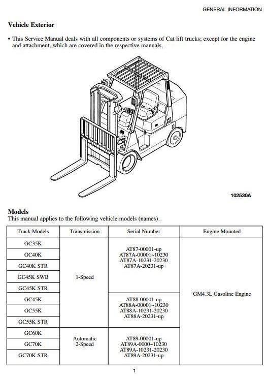 Caterpillar Forklift Truck GC35K, GC40K, GC45K, GC50K, GC55K, GC60K, GC70K Workshop Manual