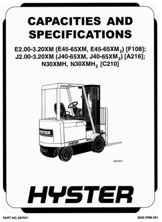 hyster forklift truck type f108 e45xm e50xm e55xm rh sellfy com Hyster Owner's Manual Hyster Lift Truck Manual