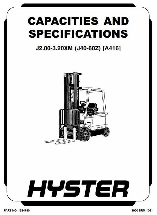 Hyster Truck Type A416: J2.00XM, J2.50XM, J3.00XM, J3.20XM, J40Z, J50Z, J60Z Workshop Manual