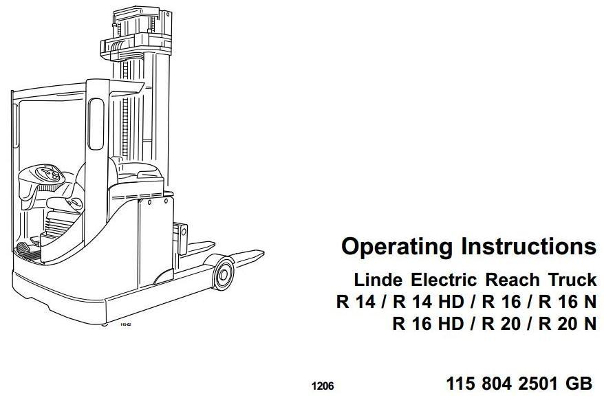 linde electric reach truck type 115 r14 r14hd r16 rh sellfy com  linde r14 service manual