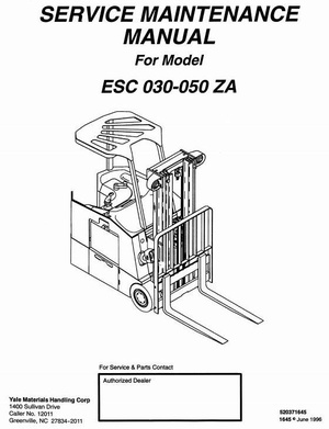 Yale Electric Forklift Truck: ESC030ZA, ESC035ZA, ESC040ZA, ESC050ZA Workshop Service Manual