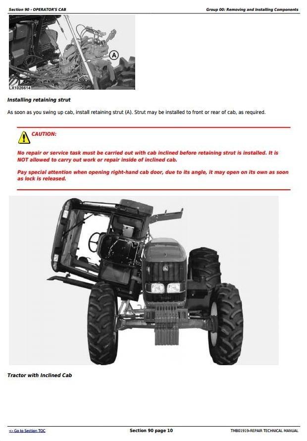 John Deere 6110J, 6125J & 6130J 2WD or MFWD Tractors Repair Manual (Worldwide Edition) (TM801919)