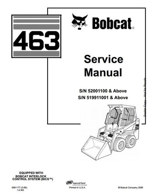 Bobcat Skid Steer Loader Type 463 (S70): S/N 519911001 & Above Workshop Service Manual