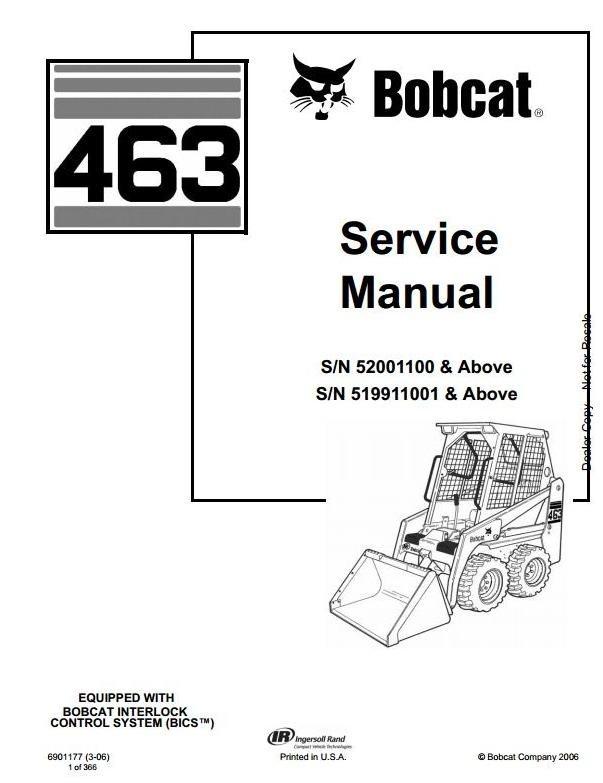 Bobcat Skid Steer Loader Type 463 (S70): S/N 519911001 & Above Workshop Service Manual