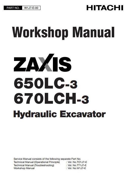 Hitachi Hydraulic Excavator 650LC-3, 670LCH-3 Workshop Service Manual