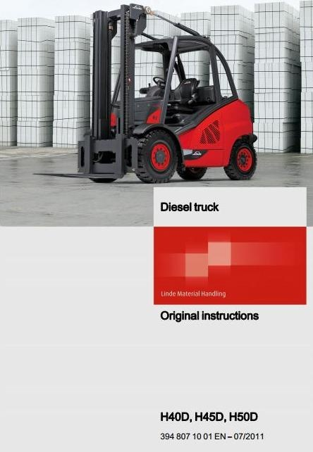 linde diesel forklift truck h series type 394 h40d h rh sellfy com Operators Manual User Manual Template
