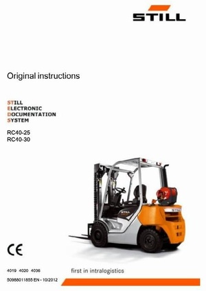 Still Electric Lift Truck Type RC40-25, RC40-30: R4012, R4013, R4021 Operating Instructions