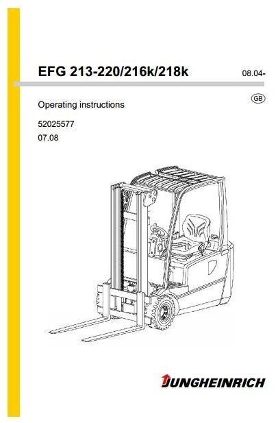 Jungheinrich Lift Truck EFG-Series 213-220, 216K, 218K (08.04-12.08) Operating, Maintenance Manual