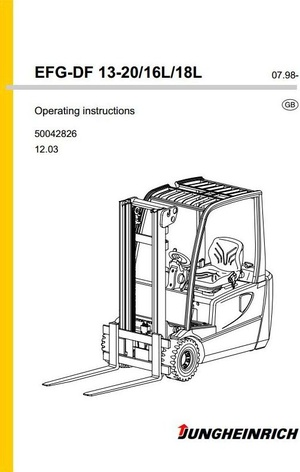 Jungheinrich Electric Truck EFG-DF Type 13, 15, 16, 18, 20, 16L, 18L (07.98-12.03) Operating Manual