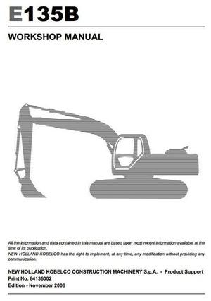 New Holland Crawler Excavator E135B Workshop Service Manual