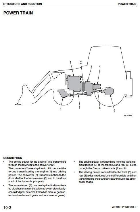 Komatsu Backhoe Loader WB91R-2, WB93R-2 Workshop Service Manual