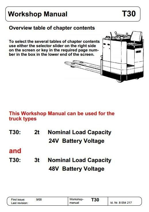 Linde Pallet Truck Type 012: T30R 2t, T30R 3t Service Training (Workshop) Manual