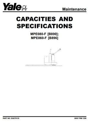 Yale Pallet Stacker: MPE060-F [B896], MPE080-F [B890] Workshop Service Manual