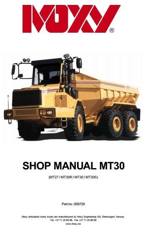 Doosan Articulated Dump Truck  Moxy MT30, MT30S Workshop Service Manual