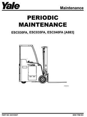 Yale Electric Forklift Truck Type A883: ESC030FA, ESC035FA, ESC040FA Workshop Service Manual